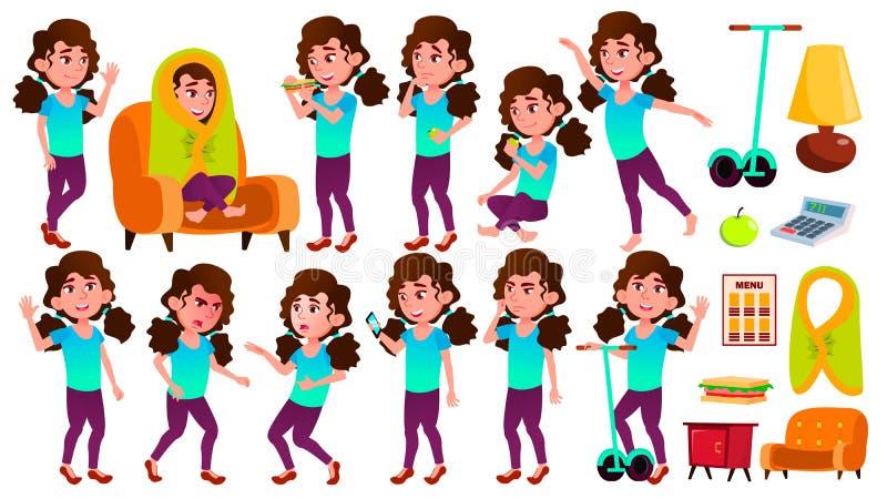 Το παιδί μαθητριών κοριτσιών θέτει το καθορισμένο διάνυσμα Παιδί γυμνασίου Καυκάσιος, παιδιά, θετικά Για την κάρτα, κάλυψη, σχέδι απεικόνιση αποθεμάτων