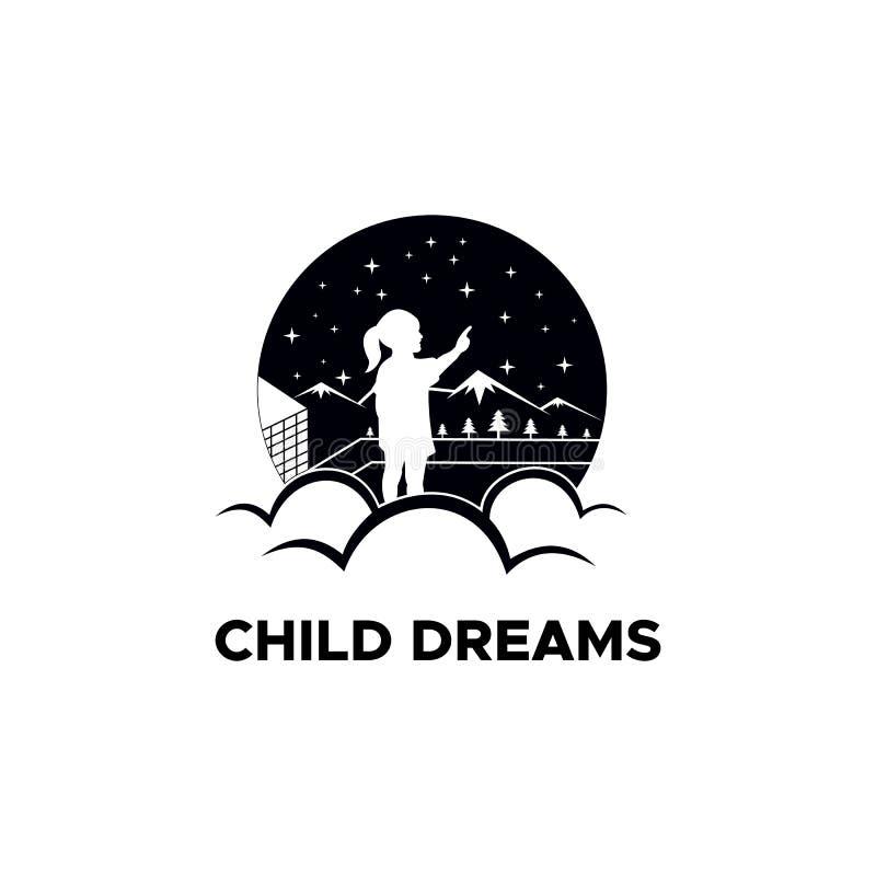 Το παιδί ονειρεύεται τα διανυσματικά σχέδια λογότυπων διανυσματική απεικόνιση