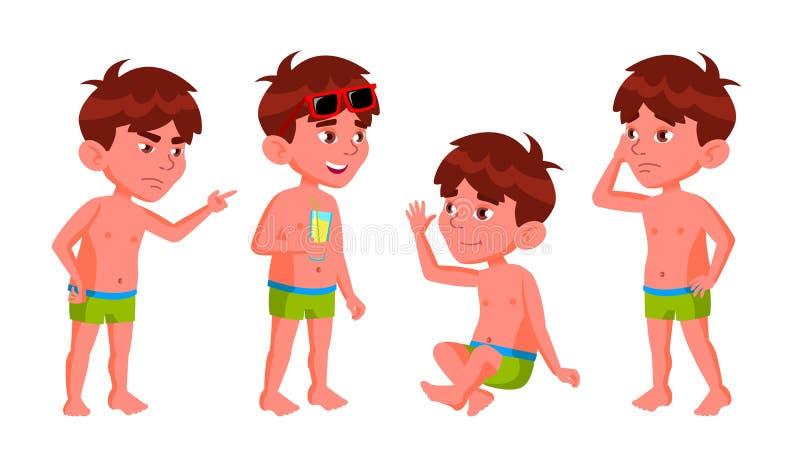 Το παιδί παιδικών σταθμών αγοριών θέτει το καθορισμένο διάνυσμα krasnodar διακοπές θερινών εδαφών katya Λίμνη, παραλία άντυτος Γι διανυσματική απεικόνιση