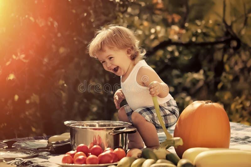 Το παιδί προετοιμάζεται να φάει Χαμογελώντας αγόρι στο πικ-νίκ στοκ φωτογραφία με δικαίωμα ελεύθερης χρήσης
