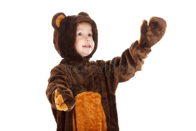 Το παιδί σε Χριστούγεννα καρναβάλι αφορά το κοστούμι που απομονώνεται το λευκό στοκ φωτογραφία με δικαίωμα ελεύθερης χρήσης