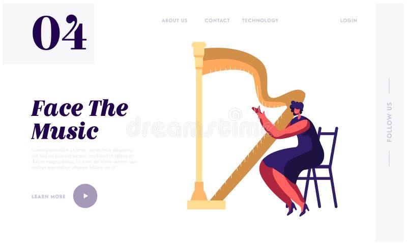 Το παιχνίδι γυναικών μουσικών αρπιστών στην προσγειωμένος σελίδα ιστοχώρου αρπών, συναυλία κλασικής μουσικής συμφωνικών ορχηστρών απεικόνιση αποθεμάτων