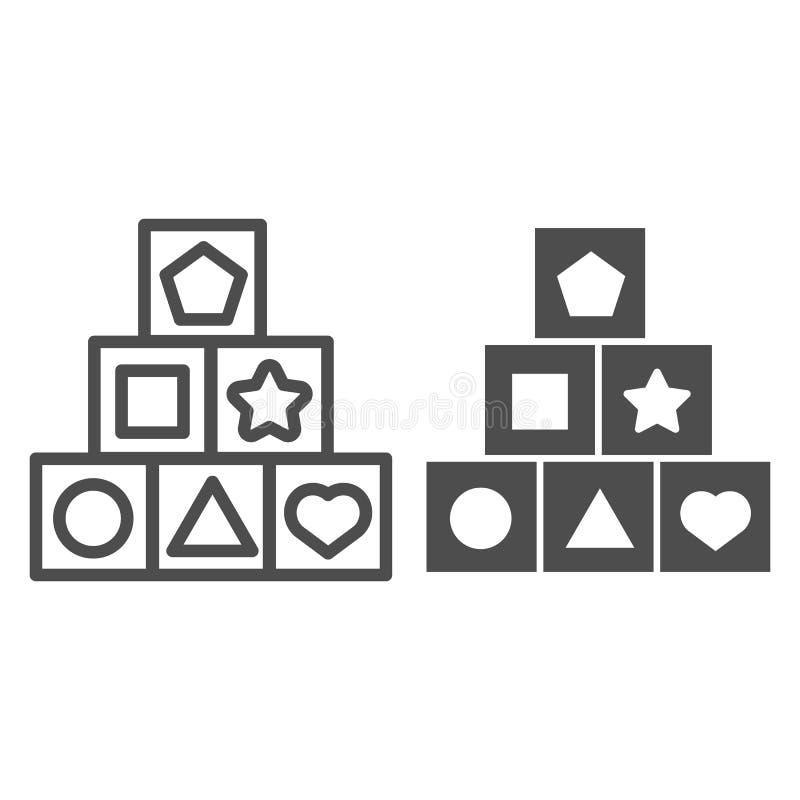Το παιχνίδι κυβίζει τη γραμμή και glyph το εικονίδιο Παιδιών παιχνιδιών απεικόνιση που απομονώνεται διανυσματική στο λευκό Σχέδιο διανυσματική απεικόνιση