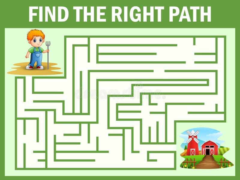 Το παιχνίδι λαβυρίνθου βρίσκει ότι ο μικρός τρόπος αγροτών φτάνει στο αγρόκτημα διανυσματική απεικόνιση