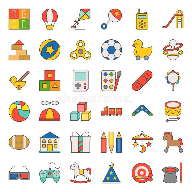 Το παιχνίδι παιδιών γέμισε το σύνολο εικονιδίων περιλήψεων διανυσματική απεικόνιση