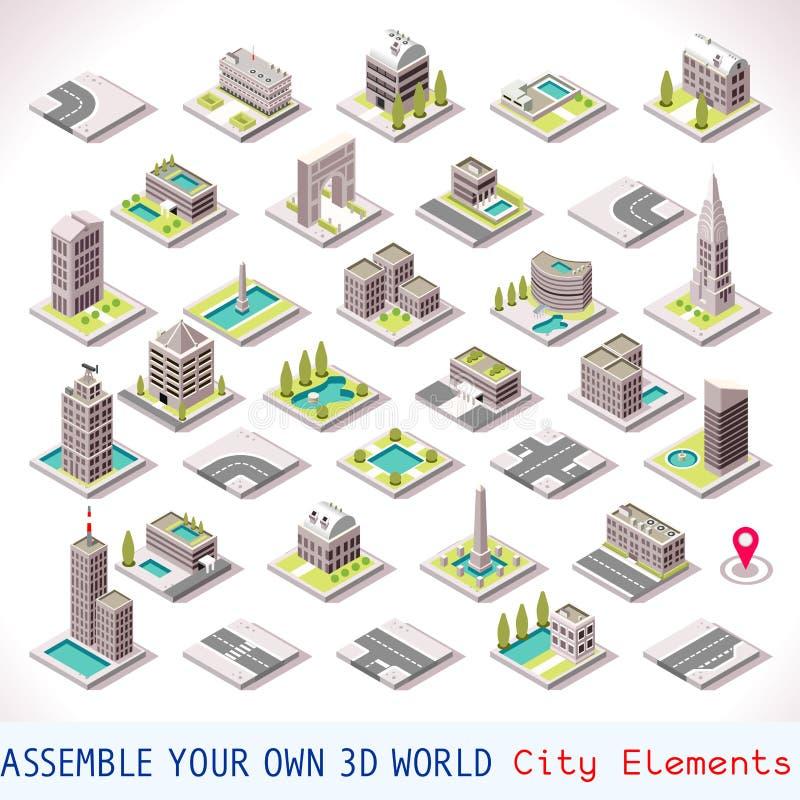 Το παιχνίδι έθεσε την οικοδόμηση 01 Isometric απεικόνιση αποθεμάτων