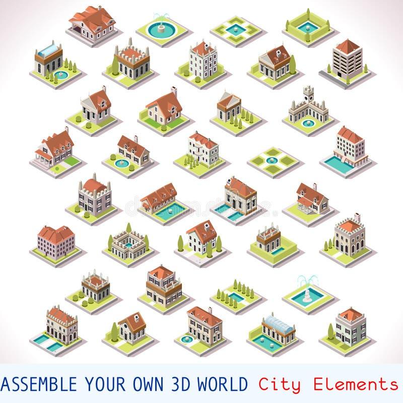 Το παιχνίδι έθεσε την οικοδόμηση 03 Isometric απεικόνιση αποθεμάτων