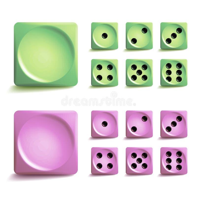 Το παιχνίδι χωρίζει σε τετράγωνα το διανυσματικό σύνολο Διαφορετικοί κύβοι παιχνιδιών παραλλαγών που απομονώνονται Εικονίδια συλλ ελεύθερη απεικόνιση δικαιώματος