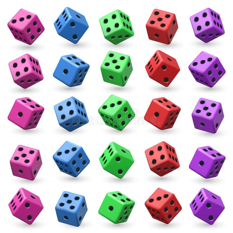 Το παιχνίδι χωρίζει σε τετράγωνα το διανυσματικό σύνολο τρισδιάστατος κύβος με τους αριθμούς για το παιχνίδι χαρτοπαικτικών λεσχώ ελεύθερη απεικόνιση δικαιώματος