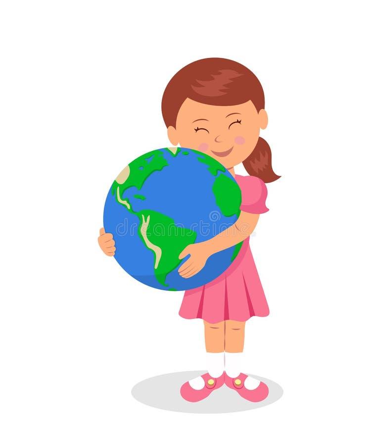 Το παιδί και η γη: Μικρό κορίτσι που αγκαλιάζει τη γη σε ένα άσπρο υπόβαθρο Η έννοια σχεδίου της γήινης ημέρας ελεύθερη απεικόνιση δικαιώματος