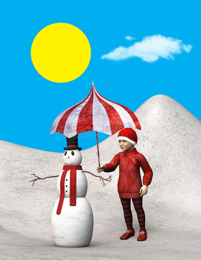 Το παιδί προστατεύει το χιονάνθρωπο, ήλιος, απεικόνιση διανυσματική απεικόνιση