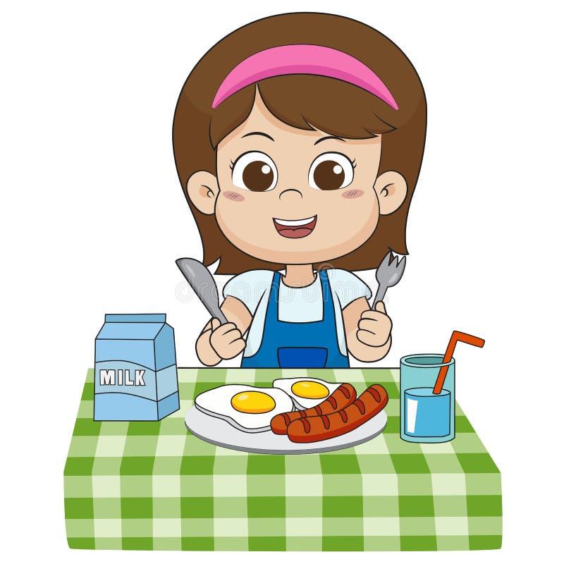 Το παιδί τρώει το πρόγευμα που μπορεί να έχει επιπτώσεις στην αύξηση των παιδιών ελεύθερη απεικόνιση δικαιώματος