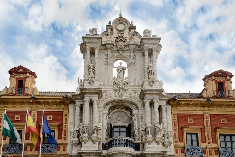 Το παλάτι του SAN Telmo είναι ένα ιστορικό οικοδόμημα στη Σεβίλη, νότια Ισπανία στοκ φωτογραφία