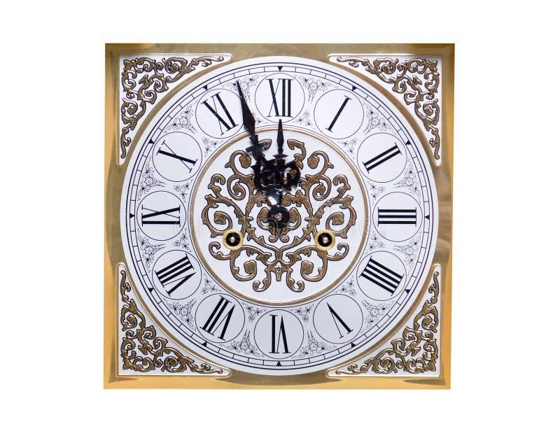 Το παλαιό εκλεκτής ποιότητας ρολόι παρουσιάζει πέντε λεπτά σε δώδεκα Η έννοια των Χριστουγέννων και του νέου εορτασμού έτους 'Ένδ στοκ φωτογραφία με δικαίωμα ελεύθερης χρήσης