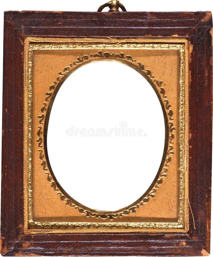 Το παλαιό παλαιό πλαίσιο φωτογραφιών με το χρυσό τακτοποίησε Oval στοκ εικόνα