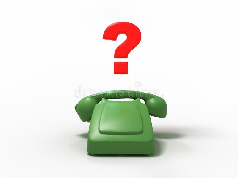 Το παλαιό πράσινο τηλέφωνο χωρίς κουμπιά με ένα ερωτηματικό τρισδιάστατο δίνει διανυσματική απεικόνιση