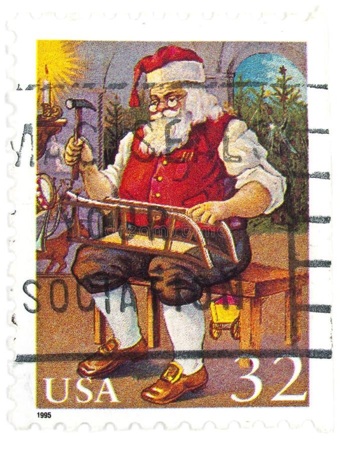 το παλαιό santa μας σφραγίζει στοκ εικόνα