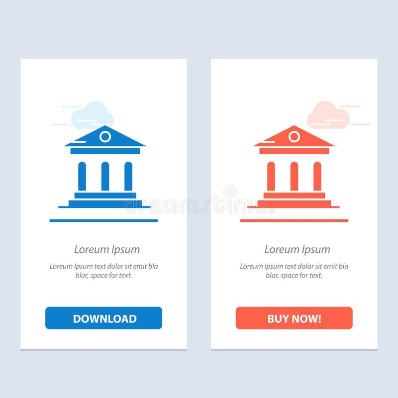 Το πανεπιστήμιο, η τράπεζα, η πανεπιστημιούπολη, το δικαστήριο μπλε και το κόκκινο μεταφορτώνουν και αγοράζουν τώρα το πρότυπο κα διανυσματική απεικόνιση