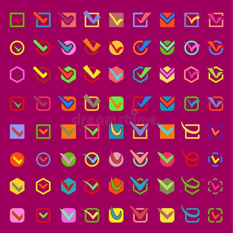 Το παράθυρο ελέγχου εγκρίνει τα διανυσματικά εικονίδια κουμπιών καθορισμένα Σύμβολο επιλογής σημαδιών σημαδιών ψηφοφορίας εικονιδ ελεύθερη απεικόνιση δικαιώματος