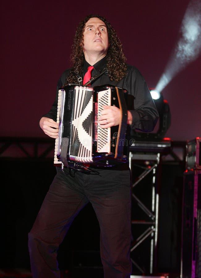 Το παράξενο Al Yankovic αποδίδει στη συναυλία στοκ φωτογραφία
