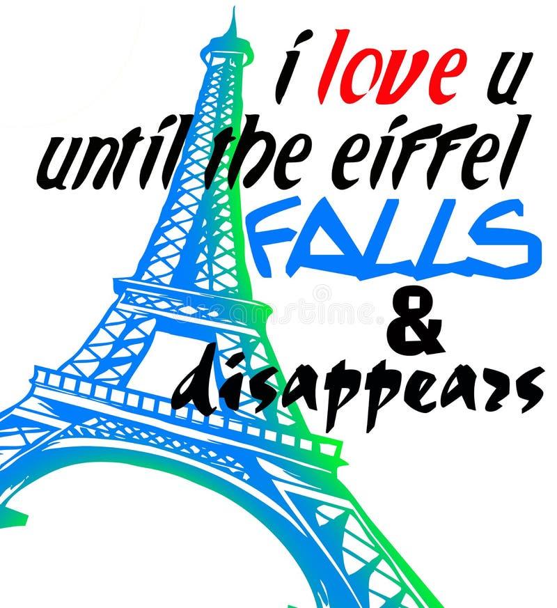 Το Παρίσι για την αγάπη δεν πεθαίνει ποτέ διανυσματική απεικόνιση