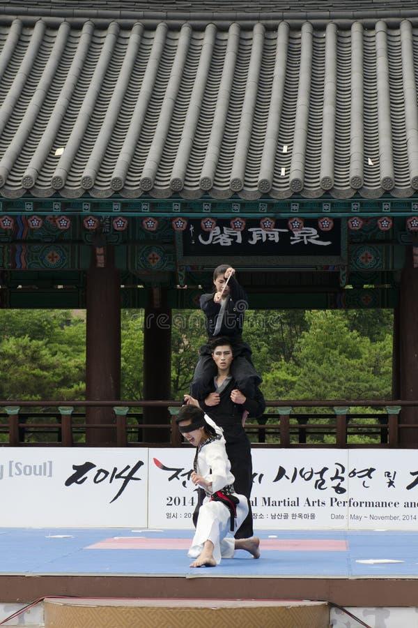 Το παραδοσιακό κορεατικό γεγονός απόδοσης και εμπειρίας πολεμικής τέχνης παρουσιάζει στοκ εικόνες με δικαίωμα ελεύθερης χρήσης