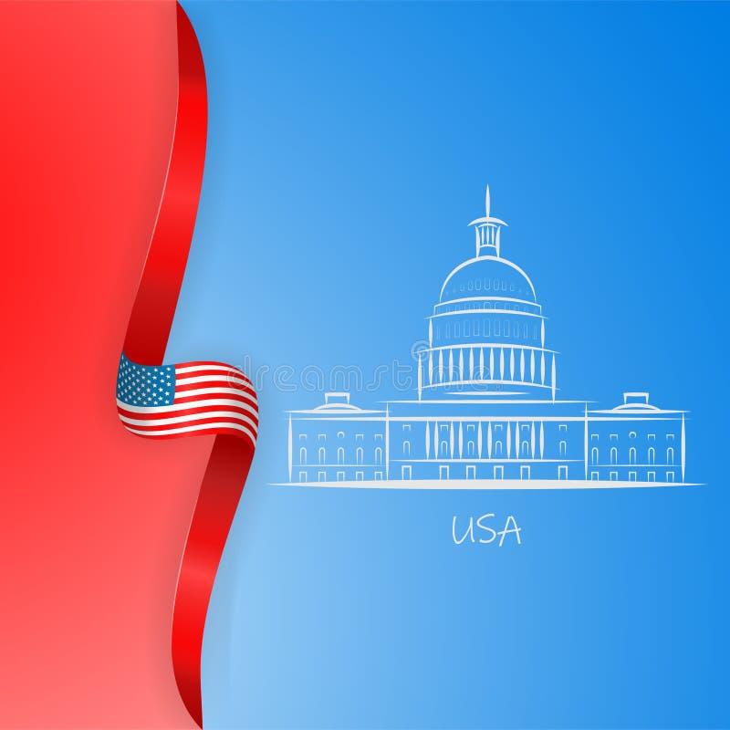 Το πατριωτικό αμερικανικό υπόβαθρο με τις αφηρημένες ΗΠΑ σημαιοστολίζει και Λευκός Οίκος και Capitol χτίζοντας το σύμβολο του Was διανυσματική απεικόνιση