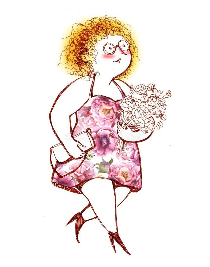 Το παχουλό κοκκινομάλλες κορίτσι με τα γυαλιά και την ανθοδέσμη των λουλουδιών διανυσματική απεικόνιση