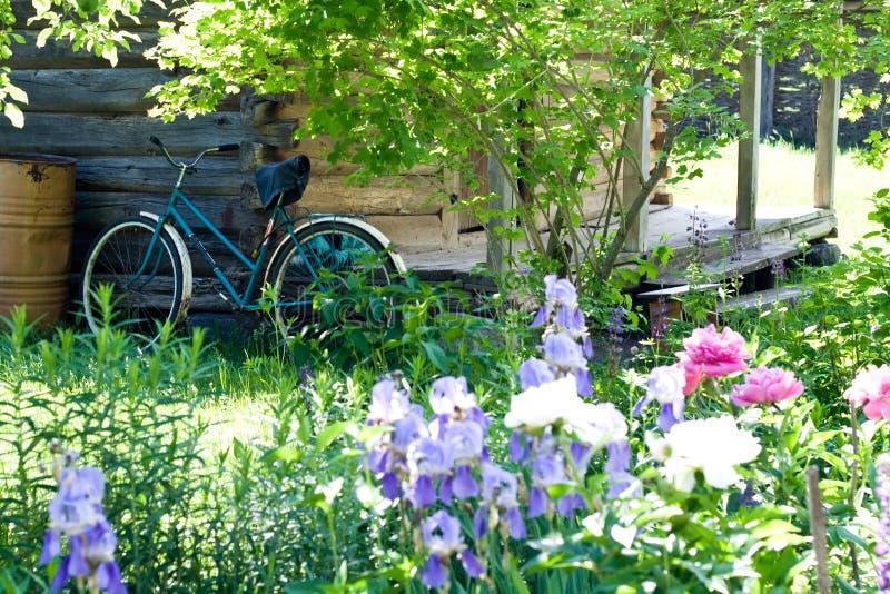 Το παλαιό ποδήλατο στέκεται κοντά στον τοίχο στοκ εικόνες με δικαίωμα ελεύθερης χρήσης