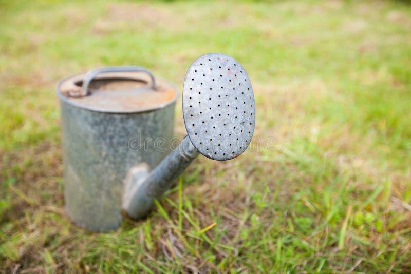 Το παλαιό, σκουριασμένο πότισμα μπορεί στεμένος στη χλόη στοκ εικόνες με δικαίωμα ελεύθερης χρήσης