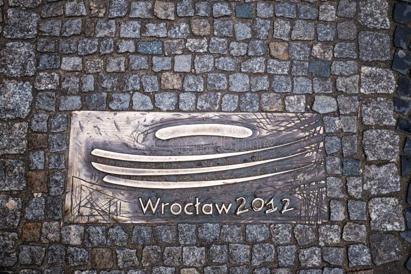 Το πεζοδρόμιο πετρών wroclaw Πολωνία Οδική επιφάνεια Τουρισμός στοκ εικόνες με δικαίωμα ελεύθερης χρήσης