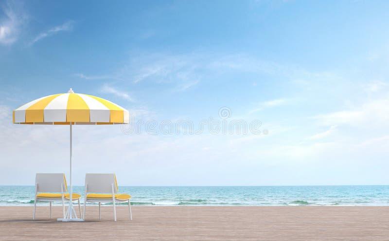 Το πεζούλι παραλίας με την άσπρη και κίτρινη ομπρέλα τρισδιάστατη δίνει ελεύθερη απεικόνιση δικαιώματος