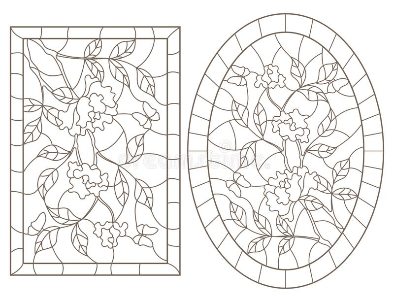 Το περίγραμμα έθεσε με τις απεικονίσεις των λεκιασμένων παραθύρων γυαλιού με τους ροδαλούς Μπους και τις πεταλούδες, της ωοειδούς απεικόνιση αποθεμάτων