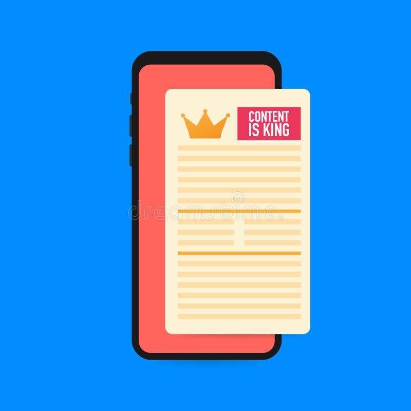 Το περιεχόμενο είναι βασιλιάς στην έξυπνη τηλεφωνική οθόνη Βελτιστοποίηση μηχανών αναζήτησης SEO και ικανοποιημένη έννοια μάρκετι απεικόνιση αποθεμάτων