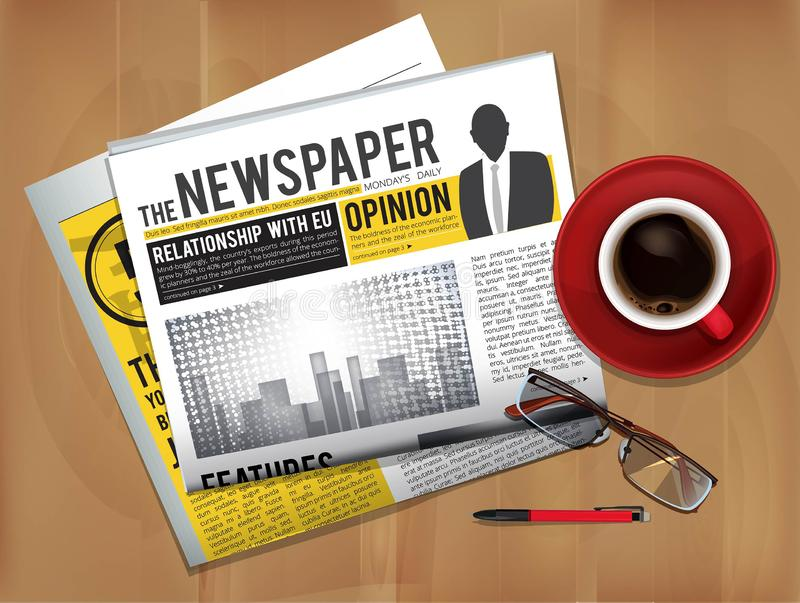 Εφημερίδα με το φλυτζάνι καφέ Το περιοδικό ή η εφημερίδα πιέζει τη τοπ άποψη κάλυψης σχετικά με τις ειδήσεις επιτραπέζιων προγευμ ελεύθερη απεικόνιση δικαιώματος