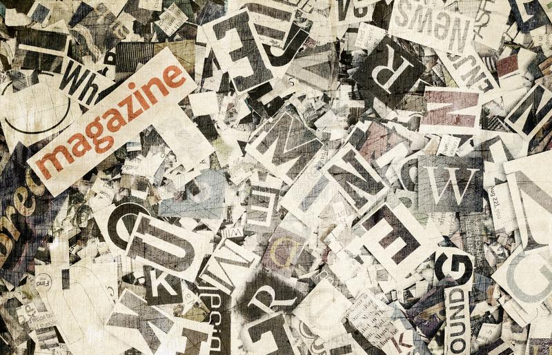 Το περιοδικό λέξης και οι τυχαίες επιστολές στο τονισμένο χρώμα στοκ εικόνες