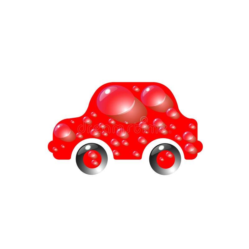 Το περισσότερο κόκκινο χρώμα αυτοκινήτων παιχνιδιών τοπ-τελών στις πτώσεις του νερού Διανυσματική αφηρημένη σύγχρονη απεικόνιση σ διανυσματική απεικόνιση