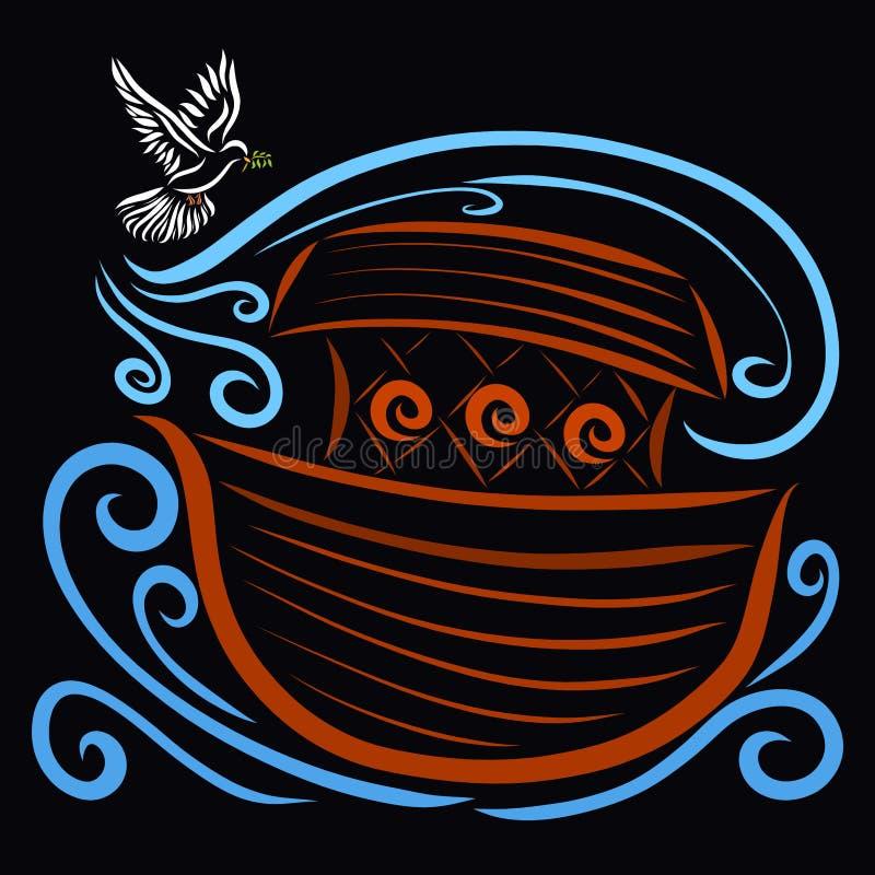 Το περιστέρι με ένα κλαδάκι που πετά στην κιβωτό, ο αέρας ξεραίνει τα νερά ελεύθερη απεικόνιση δικαιώματος
