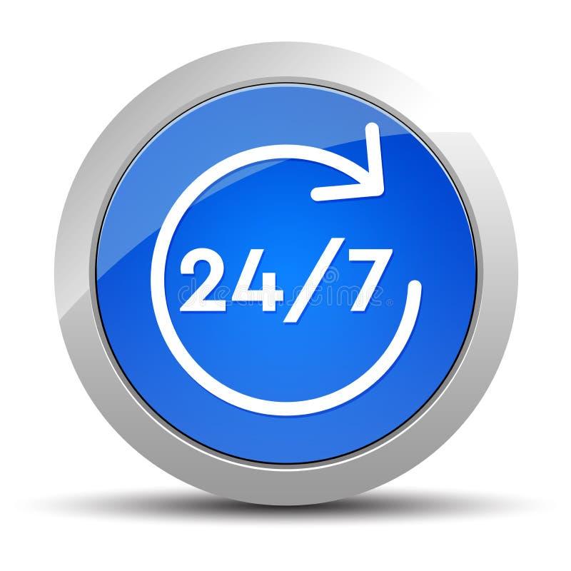 το 24/7 περιστρέφεται την μπλε στρογγυλή απεικόνιση κουμπιών εικονιδίων βελών ελεύθερη απεικόνιση δικαιώματος