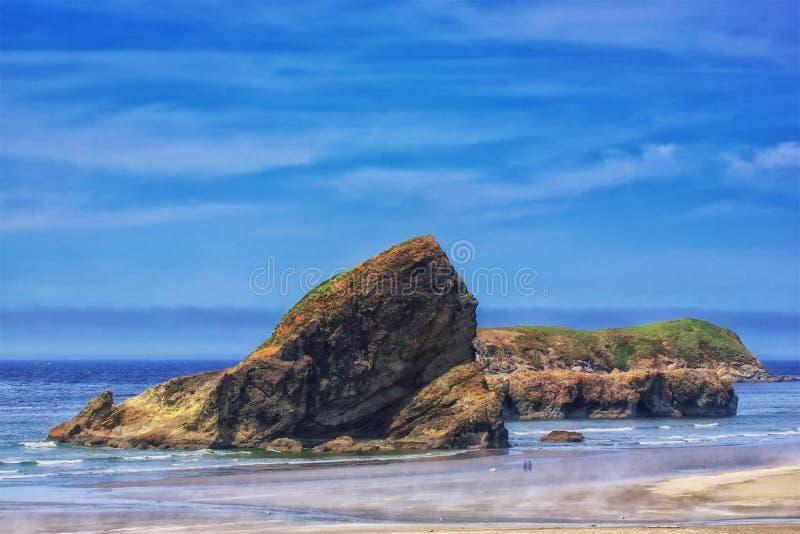 Το περπάτημα του σκυλιού μια ημέρα πτώσης στην παραλία ως ατμός αυξάνεται από τη θερμαίνοντας άμμο στοκ εικόνες