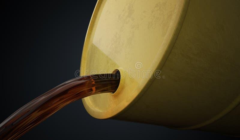 Το πετρέλαιο ή το πετρέλαιο χύνει έξω από το κίτρινο βαρέλι απεικόνιση που δίνεται τρισδιάστατη ελεύθερη απεικόνιση δικαιώματος