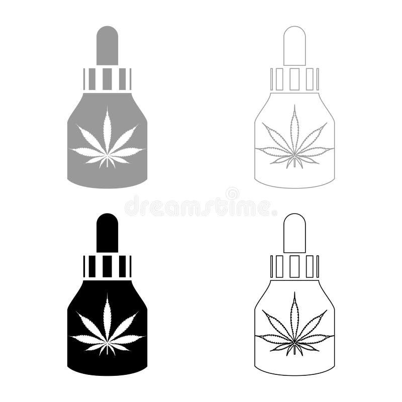 Το πετρέλαιο ιατρικής μαριχουάνα στις καννάβεις μαριχουάνα CBD καλλιεργεί φιαλών εικονιδίων την καθορισμένη μαύρη χρώματος διανυσ διανυσματική απεικόνιση