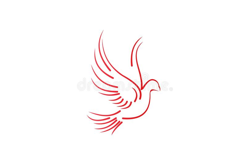 το πετώντας περιστέρι, μονο γαμήλιο λογότυπο γραμμών σχεδιάζει την έμπνευση που απομονώνεται στο άσπρο υπόβαθρο ελεύθερη απεικόνιση δικαιώματος