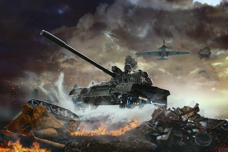 Το πετώντας όχημα αγώνα σε μια αποστολή τρισδιάστατη απεικόνιση στρατιωτικών απεικόνιση αποθεμάτων