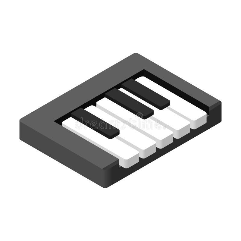 Το πιάνο κλειδώνει το isometric τρισδιάστατο εικονίδιο διανυσματική απεικόνιση