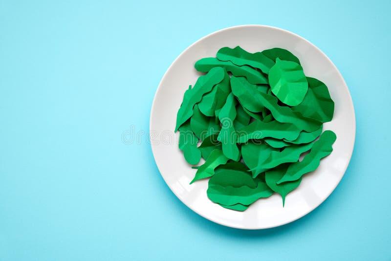 Το πιάτο με τα πράσινα έκανε από το έγγραφο: σπανάκι και arugula στο μπλε υπόβαθρο Έννοια ελάχιστης, δημιουργικής, vegan, υγιούς  στοκ φωτογραφία