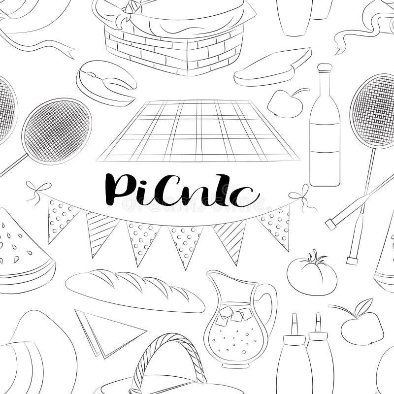 Το πικ-νίκ doodle έθεσε ελεύθερη απεικόνιση δικαιώματος
