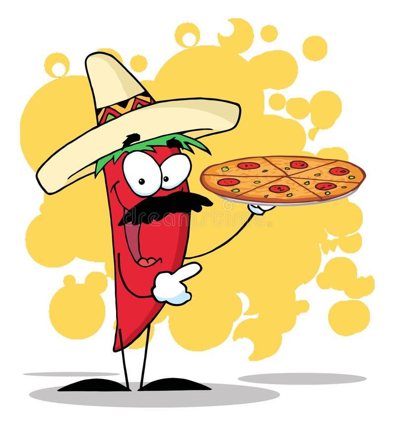 Download Το πιπέρι της Χιλής σομπρέρο κρατά ψηλά την καυτή πίτσα Διανυσματική απεικόνιση - εικονογραφία από σομπρέρο, χαμόγελο: 17058623