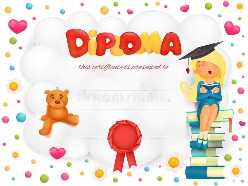 Το πιστοποιητικό προτύπων διπλωμάτων με το κορίτσι σπουδαστών και teddy αντέχει διανυσματική απεικόνιση