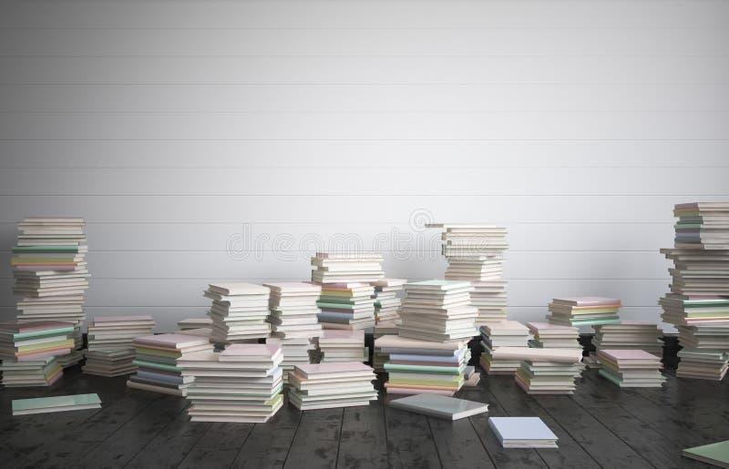 Το πλήρες δωμάτιο των βιβλίων στο πάτωμα, η έννοια της έντονης μελέτης απεικόνιση αποθεμάτων